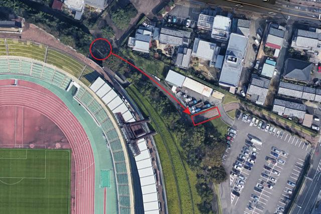 ハーフタイム時にトイレ横の喫煙所から散策コース沿い移動した場所のマップ